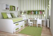 gorgeous-green-and-white-kids-bedroom-set-decorating-idea-with-striped-wall-paint-accent