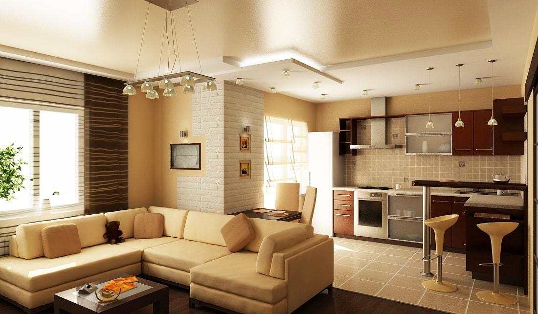 Дизайн кухни совмещенной с залом фото