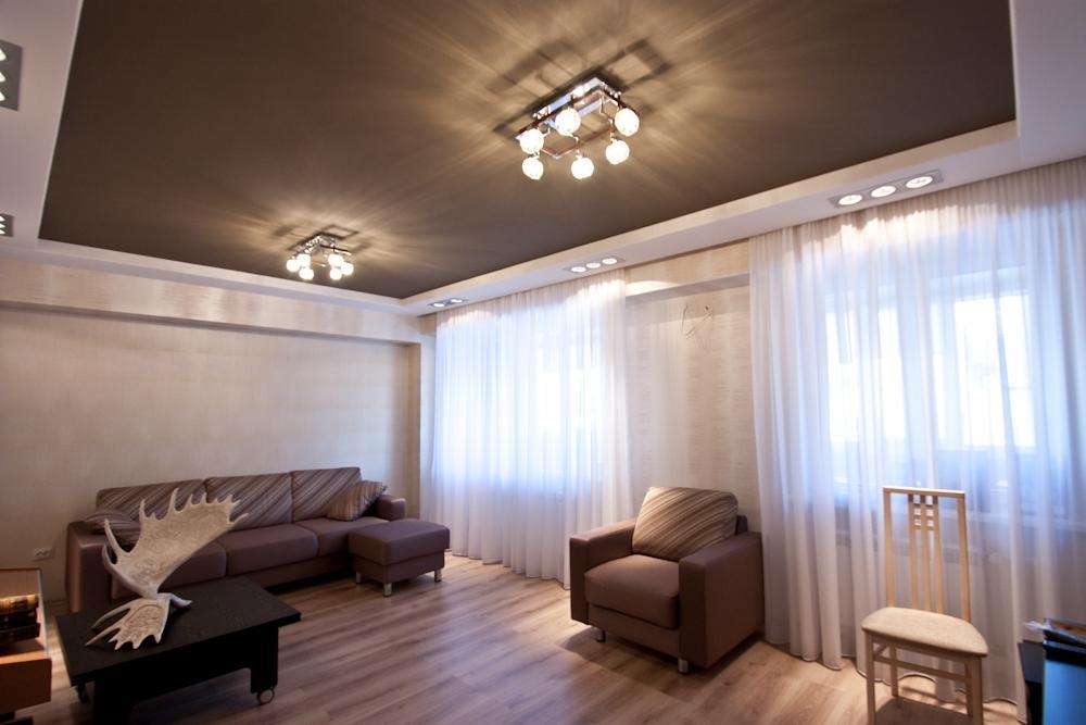 раньше натяжной потолок фото в гостиной матовый как быстро
