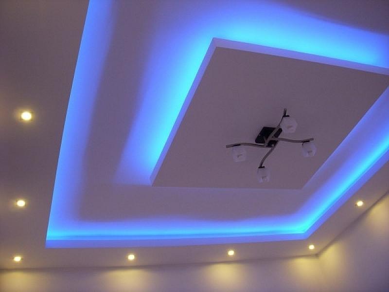 потолок из гипсокартона с диодной подсветкой фото