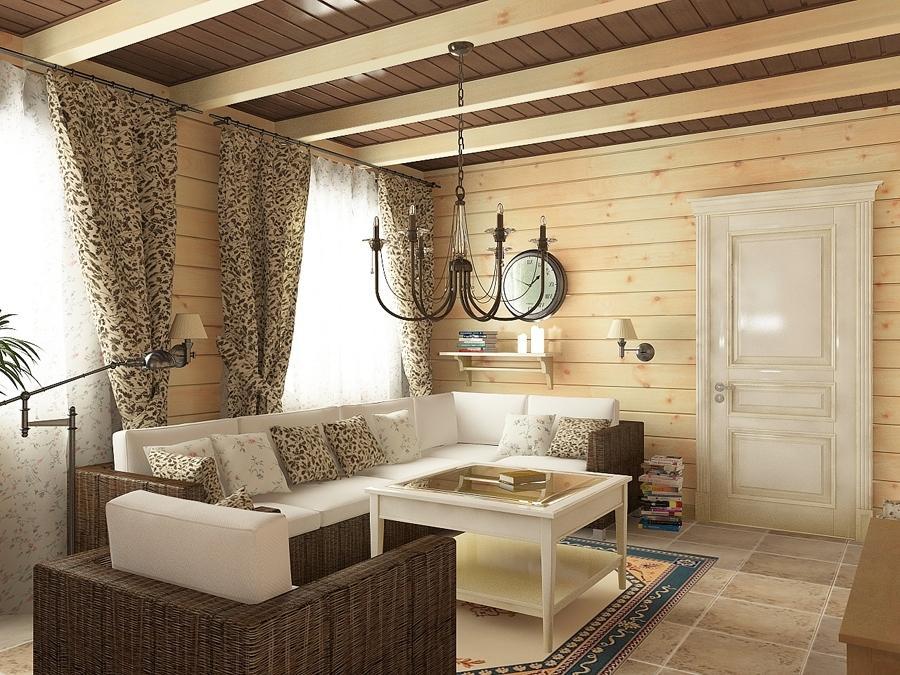 Потолок в деревянном доме фотографии