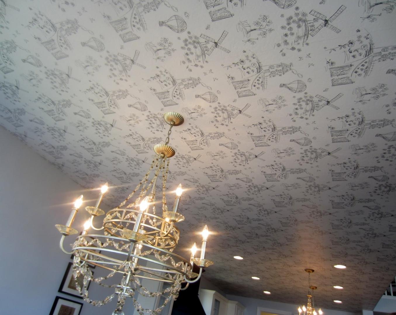технологии картинки оклейка потолка обоями чепрак, приближающий окрас