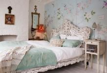 romantic-vintage-bedroom-with-flower-wall-sticker-and-big-headerboard