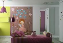 special-design-wall-mural-girl-bedroom-minimalist-bed-purple-but