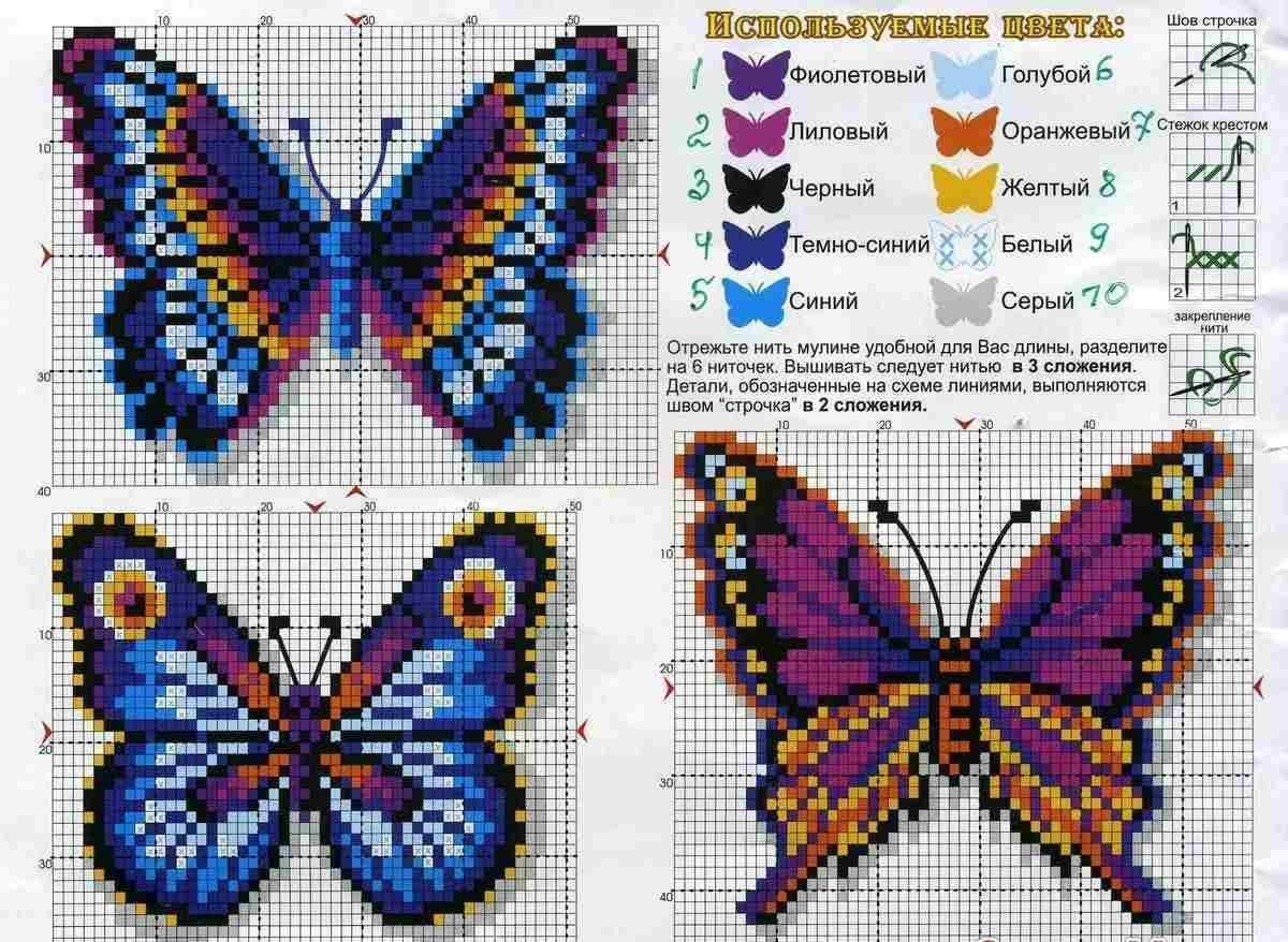 Вышивка схема бабочки скачать бесплатно фото 33