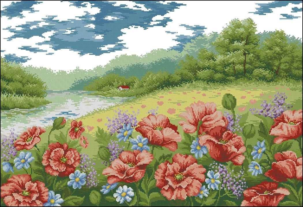рисунок лесная поляна красками больницы