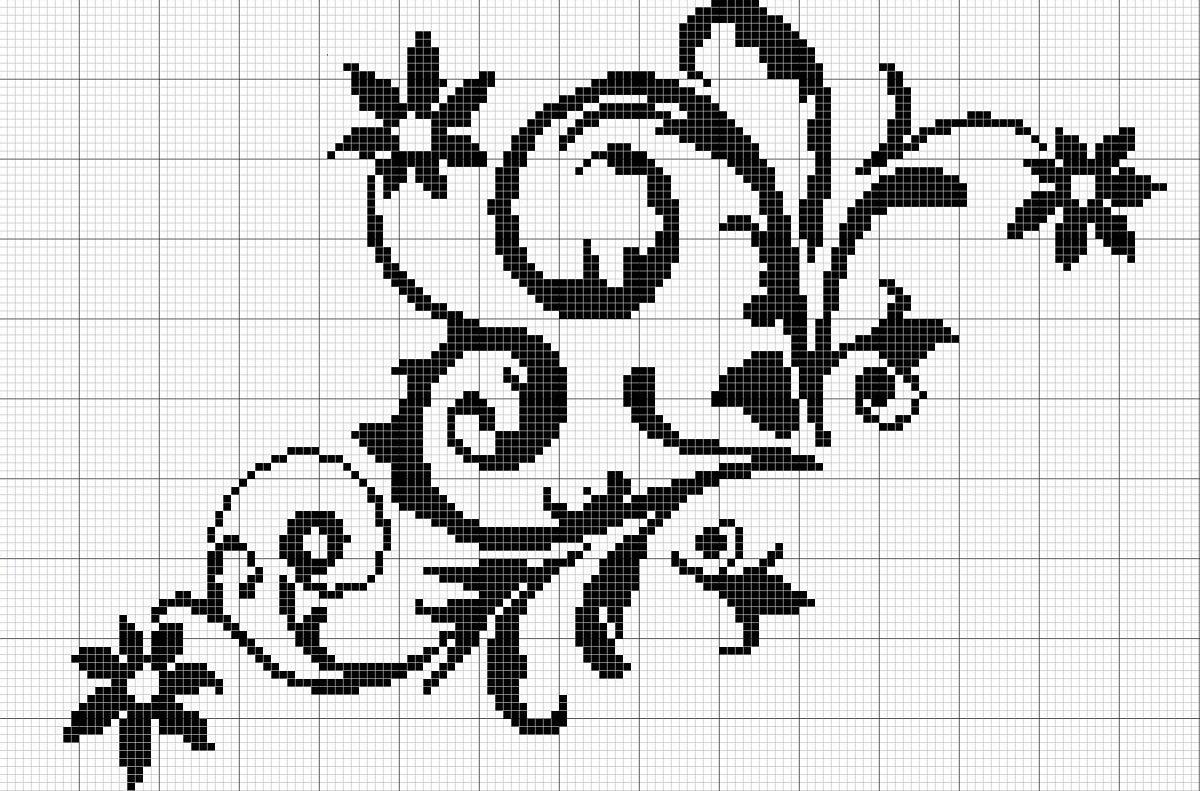 Схема вышивки черным по белому картинки