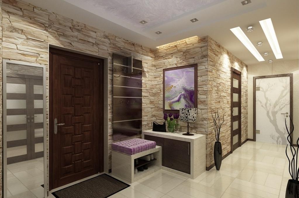 Дизайн прихожей в квартире фото с камнем