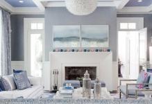 Лаконичный зал в бело-синем цвете: 3 главных принципа