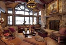 rustic-living-room-ideas-with-chandelier-and-French-windows