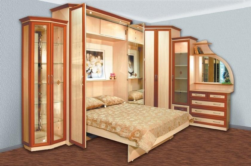 кровать встроенная в угловой шкаф фото аристократка