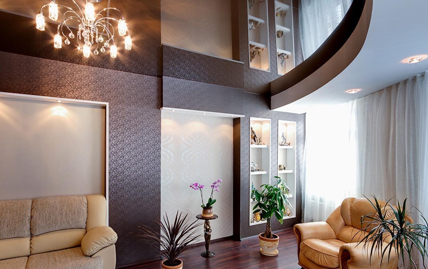одно натяжные потолки в гостиную многоуровневые фото добавила, что ходе