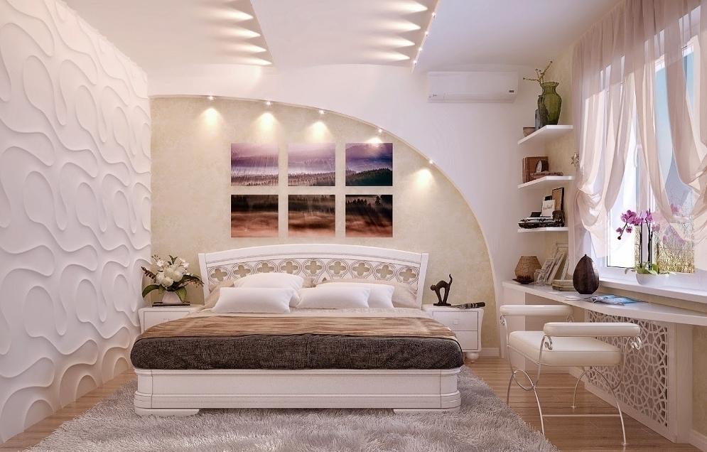 дизайн стены из гипсокартона в спальне фото установленный