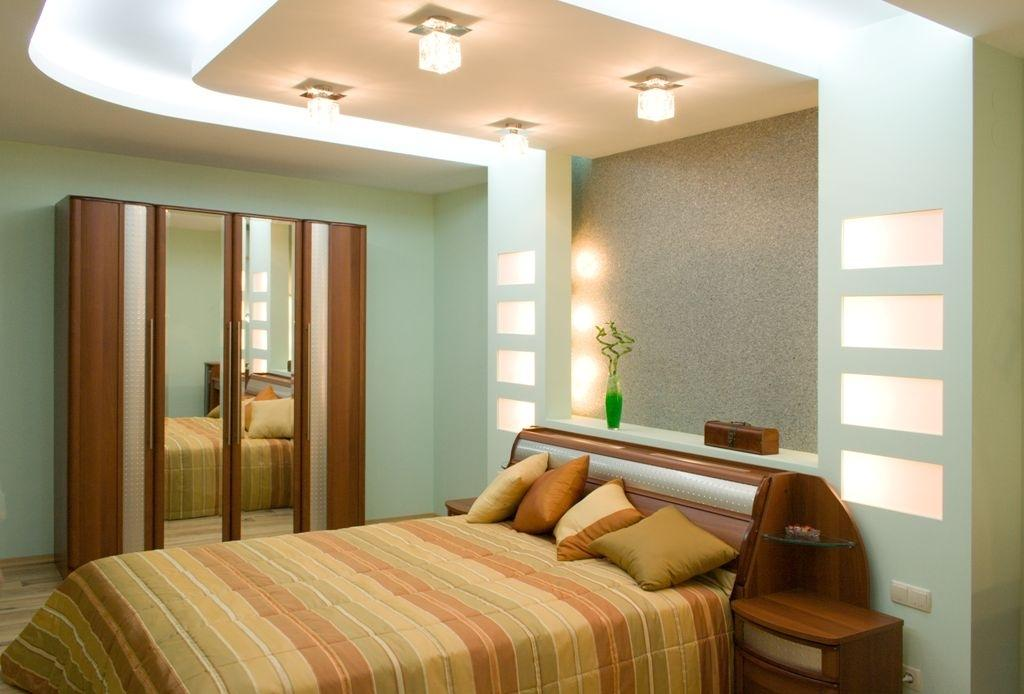 Дизайн стены из гипсокартона в спальне фото