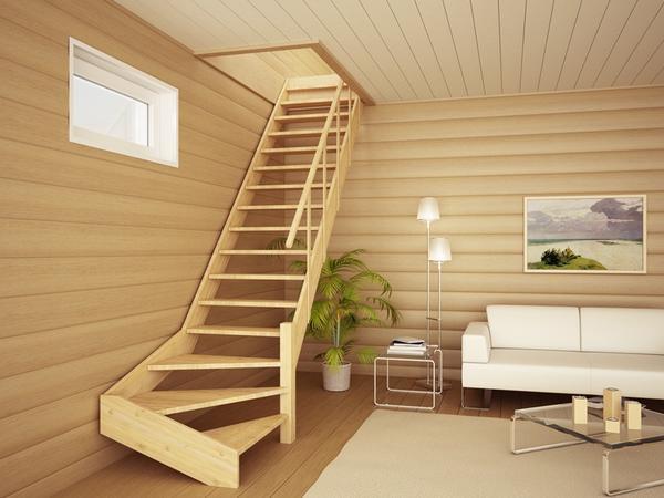 Дополнительно возле лестницы можно установить окно, которое будет красиво дополнять интерьер помещения