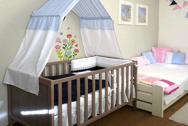 Балдахин на детскую кроватку: фото для новорожденных, крепление своими руками, как сшить и повесить, одеть