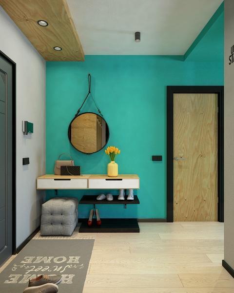 Сделать коридор и прихожую интересными и необычными можно при помощи отделки стен яркими красками