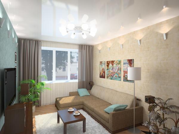 Визуально сделать комнату просторней можно при помощи отделки стен и потолка в светлых тонах