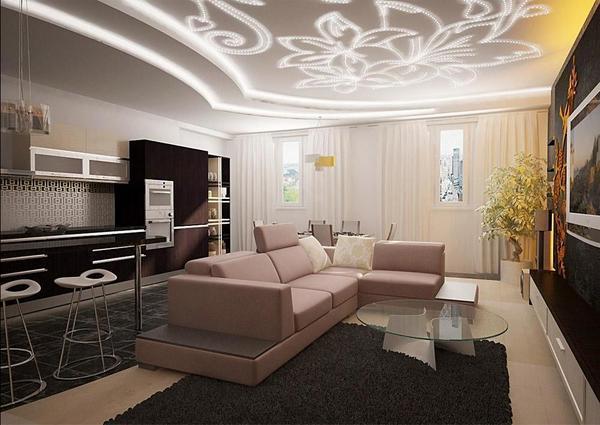 Гипсокартон в гостиной поможет сделать ваш потолок уникальным и креативным