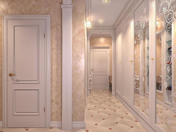 Для создания единого стиля прихожей к светлым дверям следует подбирать шкаф аналогичного оттенка