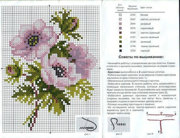 Выбирать схемы с изображением больших цветов рекомендуется тем людям, которые имеют опыт в вышивании, так как они содержат много сложных элементов