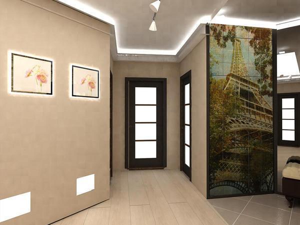 Украсить стены коридора можно, к примеру, с помощью панно