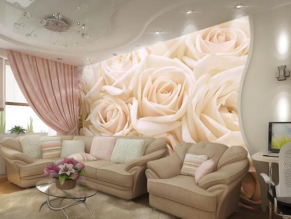 Фотообои с розами на стенах жилого помещения создадут уютную, романтическую атмосферу