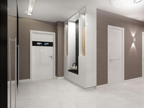 Входные двери светлых тонов отлично комбинируются с более темными оттенками стен и мебели