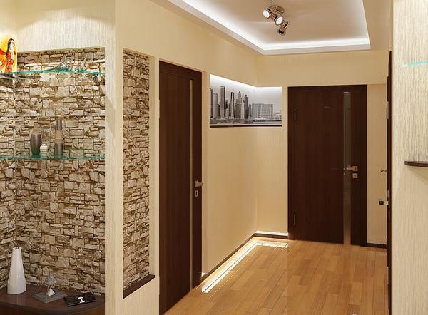В качестве напольного покрытия для коридора площадью 9 кв. м хорошо подойдет светлый ламинат или плитка