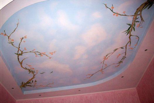 Для оформления потолка часто применяются фигуры в виде эллипса, различные дуги, окружности. Плавность линий вносит гармонию в оформление и придает законченный вид росписи
