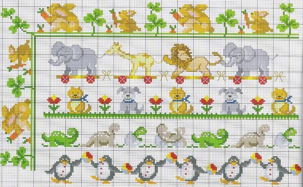 Вышивка с животными или мультипликационными персонажами хорошо подойдет для детской комнаты и ежедневно будет поднимать настроение ребенку