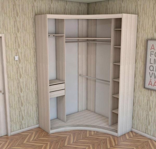 фото угловой шкаф купе в спальню наполнение для маленькой 100 150