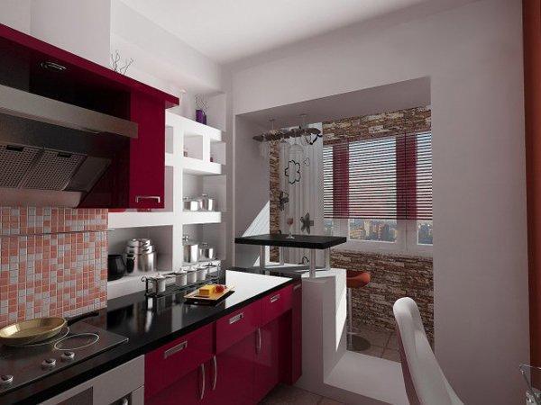 Кухня, объединенная с балконом, которая выполнена подобным образом, просто обязана иметь исключительно самое современное оборудование