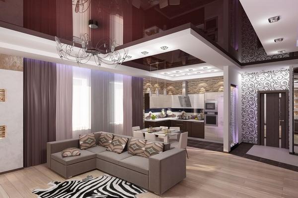 Сделать интерьер в доме интересным и необычным можно при помощи объединения гостевой комнаты с прихожей и с кухней