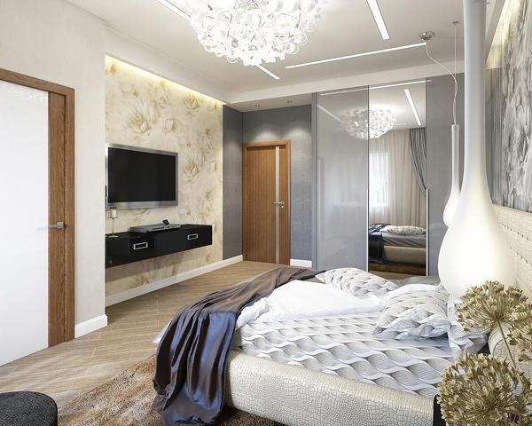Использование различных по цвету обоев позволит разделить большую комнату на функциональные зоны