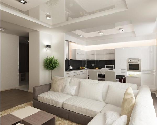 Смежную кухню с комнатой не обязательно делать в одном стиле, наоборот можно их сделать в разных цветовых гаммах