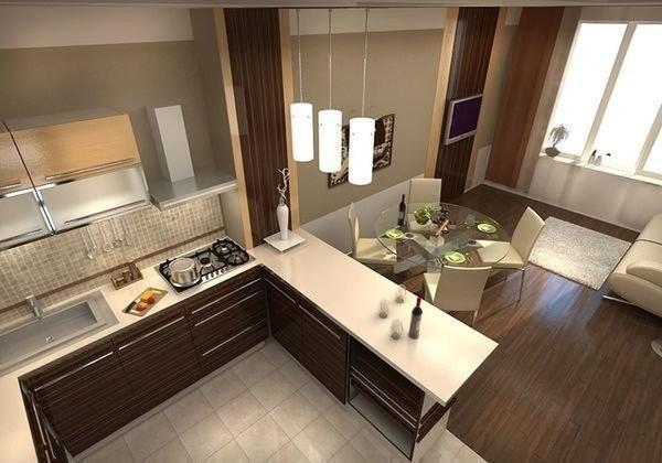 Дизайн кухни-гостиной, зонированной при помощи мебели, является самым распространенным