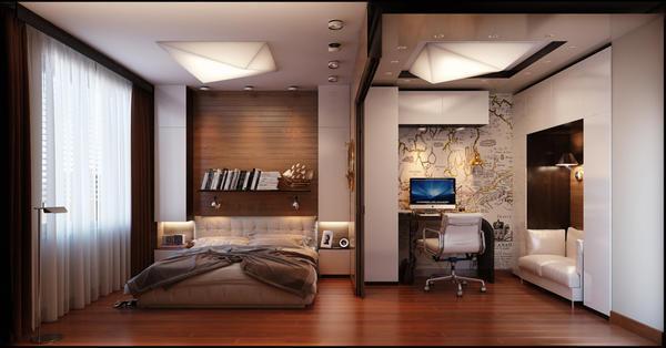 Сочетание белого и коричневого цвета в интерьере спальни выглядит очень благородно