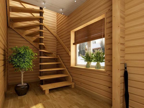 Достаточно необычно и оригинально в интерьере будет смотреться модульная лестница светлого цвета