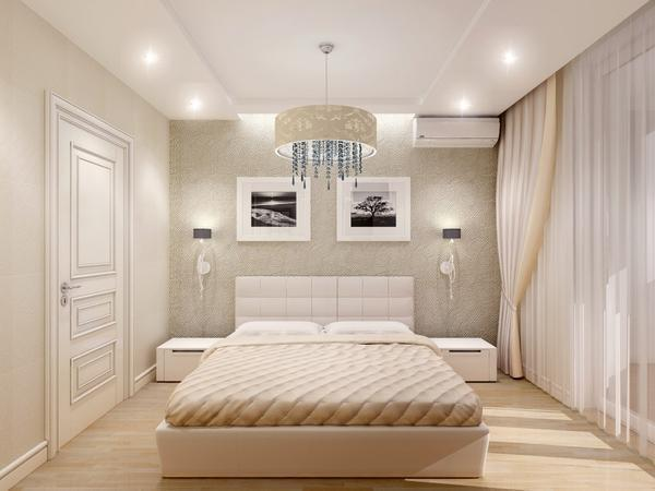 Для спальни можно подобрать небольшую декоративную люстру, которая создаст романтическую и уютную атмосферу