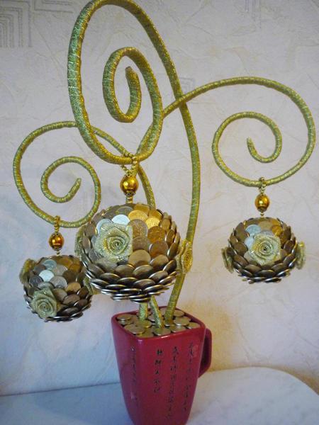 Топиарии из монет: своими руками пошаговое фото, из кофе денежное дерево, мастер класс, как сделать кофейный