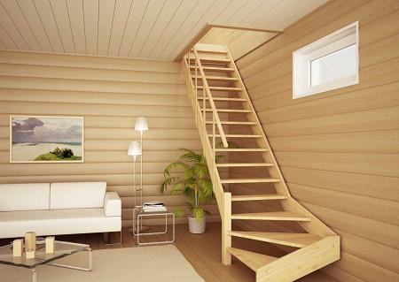 Лестница на даче не только позволяет подниматься на второй этаж, но и существенно улучшает внешний вид интерьера