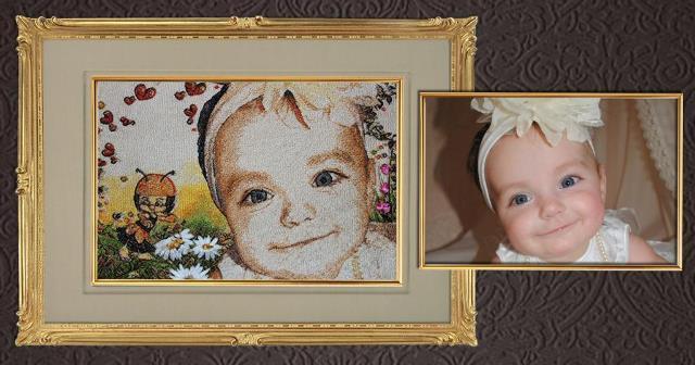Оригинальный портрет, вышитый по фотографии, станет приятным подарком для близких и друзей