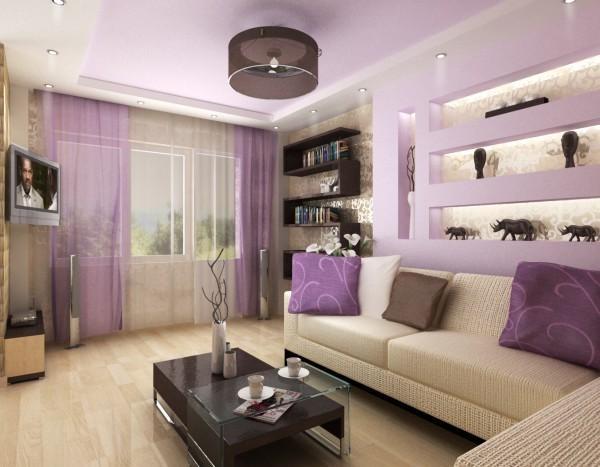 Сиреневый цвет в гостиной помогает создать романтическую и уютную атмосферу