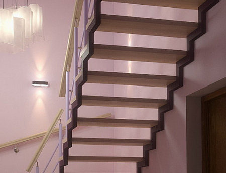 Лестница из профильной трубы хорошо смотрится в любом интерьере вне зависимости от его стиля
