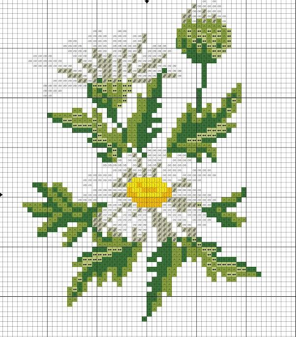 Схема вышивки крестиком ромашек одновременно поражает своей простотой и оригинальностью