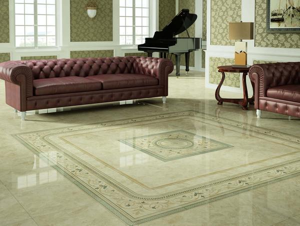 Необходимо подбирать такой цвет плитки, который бы гармонично сочетался с цветом стен, а мебель при этом выделялась