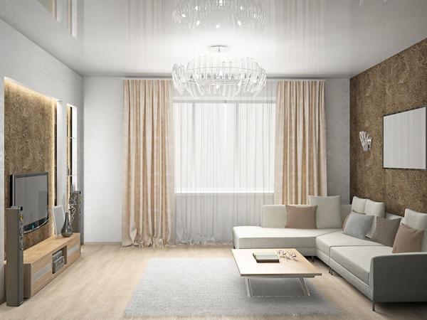 Глянцевые обои прекрасно впишутся в интерьер как маленького помещения, так и просторной комнаты