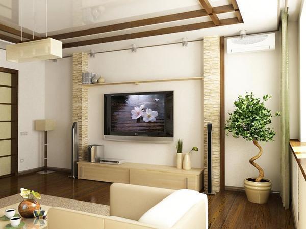 Гостиную можно обставить модульными конструкциями, в которые прекрасно поместятся важные предметы