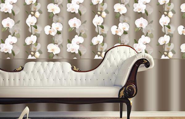 Обои с орхидеей элизиум придадут интерьеру комнаты теплоты, уюта и романтичности